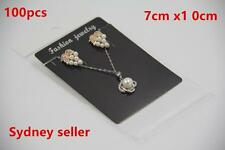 100x Black Display Card 7x10cm Earring Pendant Chain Jewellery + 100 Plastic Bag