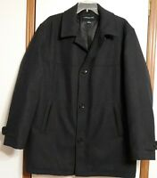London Fog Mens Sz Large Wool Jacket Car Coat Button Front Charcoal Black