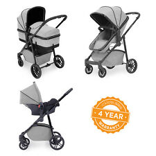 Ickle Bubba Moon 3-in-1 Baby Travel System in Silver Grey - Pushchair Pram Buggy