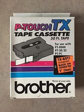 """BROTHER P-TOUCH TX-B511 Black on Orange Red 1"""" (24mm) NEW Factory Sealed"""