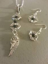 sterling silver chain/tibetan silver feather/wings/beads pendant earring
