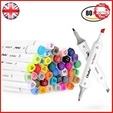 Ohuhu 80 Colors Dual Tips Art Sketch Twin Marker Pens Highlighters with Carrying