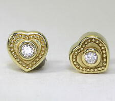 Etruscan heart earrings 14K yellow gold 2 round brilliant cubic zirconias .20CT!