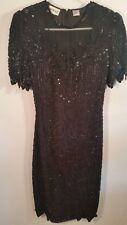 Denise Elle Beaded Sequin Black Cocktail mini Dress Size S Small Evening