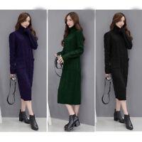 Women High Neck Knit Sweater Jumper Loose overcoat Casual Long Maxi Dress Kaftan