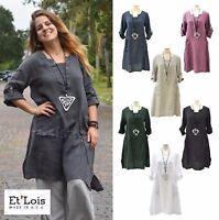 ET'LOIS USA Light Linen  KAI TUNIC  V-Placket 2-Pocket Dress  XS S M L XL COLORS