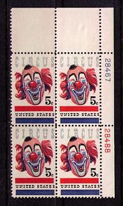 US USA Sc# 1309 MNH FVF Plate# Block Circus Clown John Ringling
