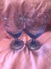 2 Vtg Libbey Goblets Blue!