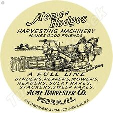 ACME HODGES HARVESTING MACHINERY 11.75in ROUND METAL SIGN