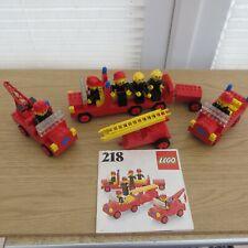 RARE HOMEMAKER LEGO SET 218 C/W 6 FIREMEN FIGURES & VEHICLES PLUS INSTRUCTIONS