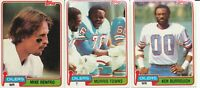 Lot of 3 different 1981 Topps Houston Oilers Football Cards