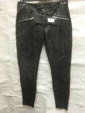 Muubaa Women's Washed Black Smooth Leather Trousers. RRP £419. UK 6. M0064.
