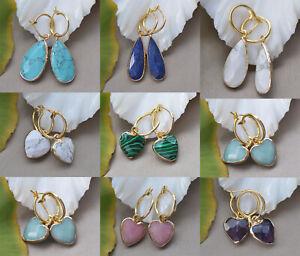 D0483 Natural Drop Heart Faceted Gemstone Dangle Earring