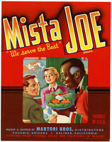 Original Mista Joe 1940 Vintage Vegetable Crate Label Salinas CA. Phoenix AZ.