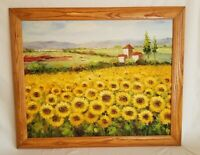 "Sunflower Field Landscape handmade Oil Painting on Canvas  35"" Long"