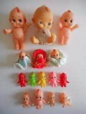 1970'S 15 CUPIE / KEWPIE DOLLS LOT ALL SIZES JAPAN & HONG KONG MADE RARE COLORS