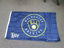 MILWAUKEE BREWERS MILLER LITE BEER FLAG BANNER 30X48 NEW SEALED PROMOTIONAL