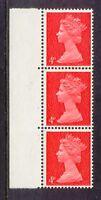 """2304 GB 1969 Machin 4 D vermilion U/M strip of 3 VARIETY/ERROR DAMAGED """"D"""" (3)"""