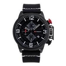 CURREN Men's Date Display Big Font Dial Watch Leather Analog Quartz Wristwatch