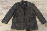 Mens 48L Jones New York City Black Leather Jacket Blazer Sport Coat Western