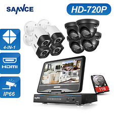 "SANNCE 1TB 1080N 8CH 10.1"" Monitor DVR Outdoor Home Security 720P Cameras System"