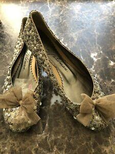 Beverly Feldman Ballet Flats Gold Sequin with Bows Shoe Sz 8 1/2