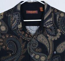 Tori Richard Men's Sz 2XL Silk Blend Paisley Black Tan Hawaiian Aloha Shirt