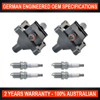 Set 4x NGK Spark Plugs & 2x Ignition Coil for Ssangyong Actyon Korando 2.3L