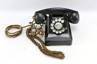 Vintage Bell System 302 Black Deco Rotary Dial Desk Phone F1 Bakelite Coil Cord