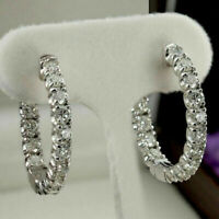 1.00 Ct Round Cut Diamond In Side & Out Side Hoop Earrings In 14k White Gold Fn