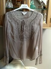 Next taupe georgette beaded blouse with cami UK 10