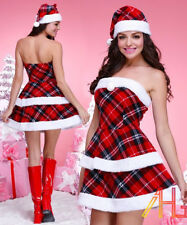 UK Sexy Women Santa Christmas Costume Dress & Hat Fancy Dress Xmas Party Outfit
