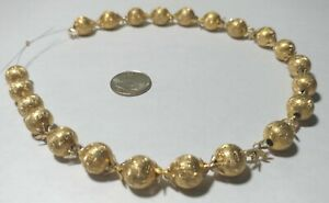 22 Vintage Etched Brass Collectible Beads