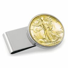 Statue of Liberty Half Dollar Coin Gold on Silver Hinge Money Clip Seasons Gift