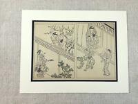 1890 Giapponese Stampa Sukenobu Village Life Schizzi Disegni Antico Art