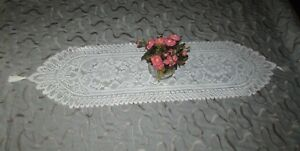 NEW - Off White Lace Table Runner or Dresser Scarf Scalloped Edge Ivory