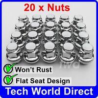 WHEEL NUTS - MITSUBISHI (M12x1.5) FLAT SEAT + WASHER ALLOY CHROME BOLT LUG [20A]
