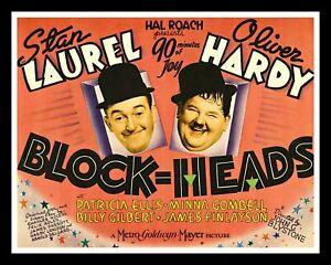 LAUREL & HARDY BLOCK HEADS METAL FILM MOVIE POSTER METAL PLAQUE TIN SIGN 1479