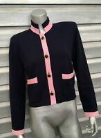 ST JOHN Navy Blue Pink Knit Jacket