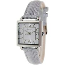 NEW TIMEX SILVER TONE,METALLIC SILVER CANVAS & LEATHER BAND,SQUARE WATCH-T2P378