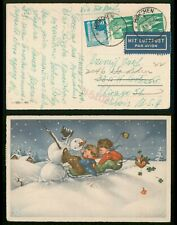 Mayfairstamps Germany 1950 Munich Children & Snowman to Us Airmail Postcard wwr2