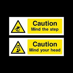 Mind your Head / Mind the Step Plastic Sign or Sticker - All Sizes & Materials