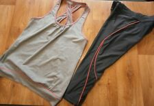 GYM SPORTS PAPYA ACTIVE GREY VEST SIZE 12 & ATHLETIC WORKS LEGGINGS SIZE M 12-14