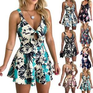 Womens Holiday Mini Jumpsuit Shorts Playsuit Romper Ladies Summer Beach Dress