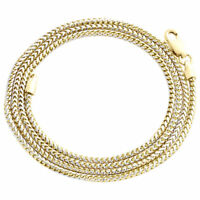 10K Yellow Gold Solid Diamond Cut Franco Box Chain 1.50mm Necklace 16 - 30 Inch