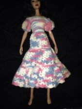 Pink White And Blue Handmade Knit Barbie Doll Dress
