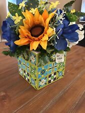NEW Faux Sunflower Arrangement in Square Tile Container