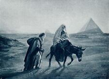 Antique Old Religious Christian GIRARDET Art Print Jesus Holy Family Egypt