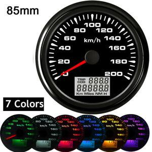 85mm 200KM/H GPS Speedometer Gauge Tuning LCD Odometer 7 Colors LED Backlight