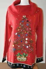 Victoria Jones Christmas Sweater Red Embellished Small NWT